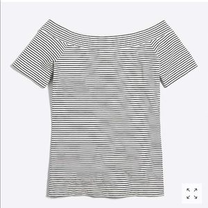 JCrew Striped off-the-shoulder tee